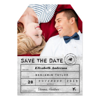 Save The Date Destination Luggage Tag Photo Card