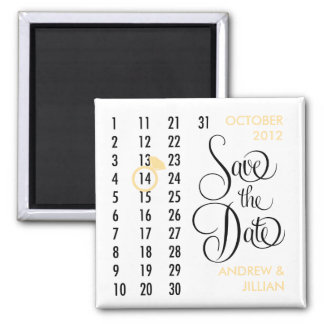 Save the Date Diamond Calendar Grid (champagne) 2 Inch Square Magnet