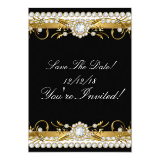 Save The Date Diamond Gold Black All Occasions Card