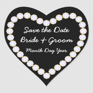 Save the Date Diamond heart Heart Sticker