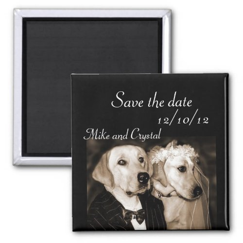 Save the date dog wedding couple magnet by FlashyDesigns