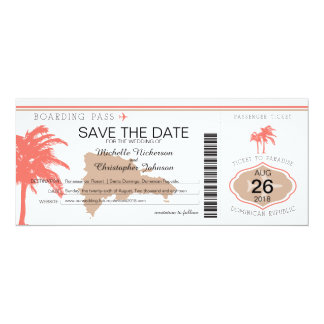 Save the Date Dominican Republic Boarding Pass Card