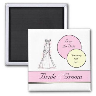 Save the Date Dot 2 Inch Square Magnet