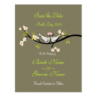 Save the Date doves+pink blossoms/diy color Postcard