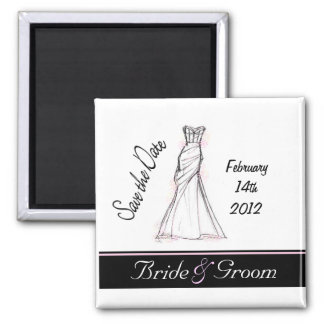 Save the Date Dress 2 Inch Square Magnet