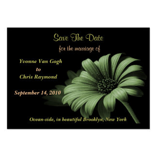 Save The Date Dusty Green Daisy Large Business Cards (Pack Of 100)