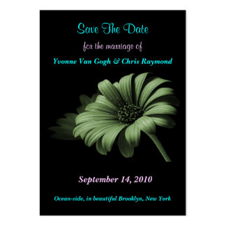 Save The Date Dusty Green Daisy I Large Business Cards (Pack Of 100)