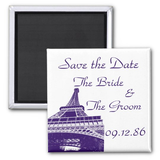 Save the Date Eiffel Tower in Purple Magnet