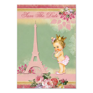 Save The Date Eiffel Tower Princess Baby Shower Card