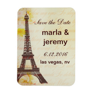 Save the Date Eiffel Tower style Rectangular Photo Magnet