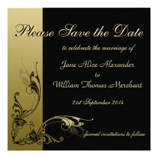 Save the Date Elegant Black and Gold Effect Swirls Invite