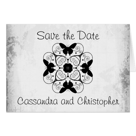 Save the date elegant black and white card