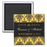 Save the Date Elegant Black & Gold Damask Magnet
