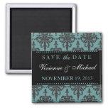 Save the Date Elegant Black & Teal Damask Magnet