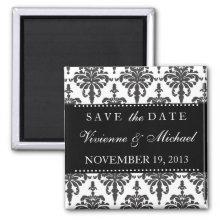 Save the Date Elegant Black & White Damask Magnet