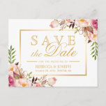 """Save the Date Elegant Chic Pink Floral Gold Frame Announcement Postcard<br><div class=""""desc"""">Save the Date Elegant Chic Pink Floral Gold Frame Postcard (1) If you are planning send out via USPS, you may consider use this version: https://www.zazzle.com/239207430265695086 (2) You are able to CHANGE the White Background to ANY COLOR you like by clicking the &quot;Customize it&quot; button and setting the Background Color....</div>"""