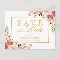 Save the Date Elegant Chic Pink Floral Gold Frame Announcement Postcard