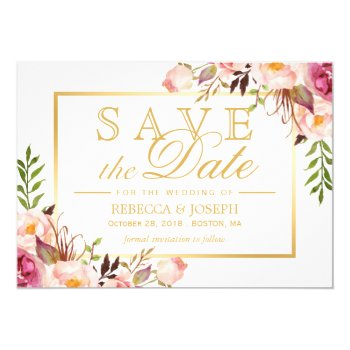 Save The Date Elegant Chic Pink Floral Gold Frame Card by CardHunter at Zazzle