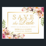 "Save the Date Elegant Chic Pink Floral Gold Frame Postcard<br><div class=""desc"">Save the Date Elegant Chic Pink Floral Gold Frame Postcard (1) If you are planning send out via USPS, you may consider use this version: https://www.zazzle.com/239207430265695086 (2) You are able to CHANGE the White Background to ANY COLOR you like by clicking the &quot;Customize it&quot; button and setting the Background Color....</div>"
