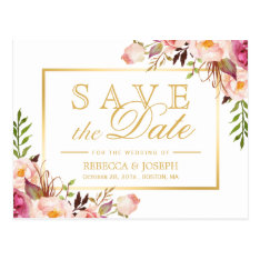 Save The Date Elegant Chic Pink Floral Gold Frame Postcard at Zazzle