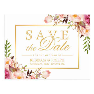 Save the Date Elegant Chic Pink Floral Gold Frame Postcard