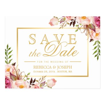 CardHunter Save the Date Elegant Chic Pink Floral Gold Frame Postcard