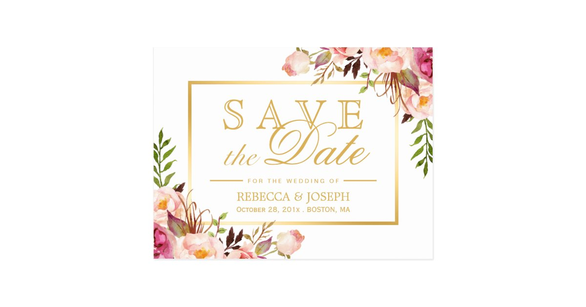 Save the Date Elegant Chic Pink Floral Gold Frame Postcard | Zazzle.com