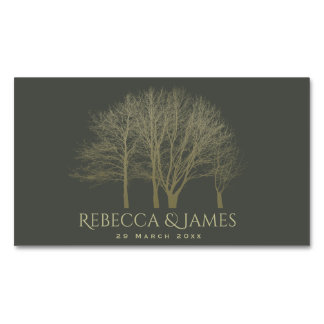SAVE THE DATE ELEGANT GREY GOLD FALL AUTUMN TREES MAGNETIC BUSINESS CARD