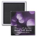 Save The Date Elegant Lights Custom Purple Magnets