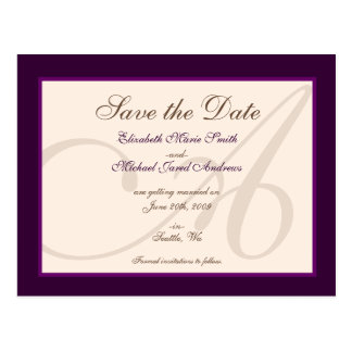Save the Date Elegant Monogram Purple Postcard