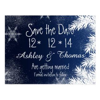 Save the Date Elegant Navy Blue Snowflake Winter Postcard