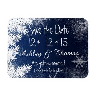Save the Date Elegant Navy Blue Snowflake Winter Rectangular Photo Magnet