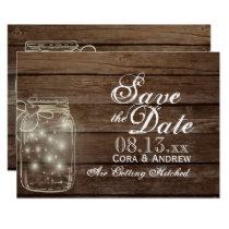 Save the Date - Elegant Rustic Mason Jar Lights Invitation