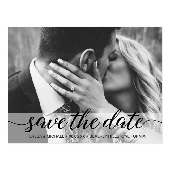 Save the Date elegant script, Photo, Engagement Postcard
