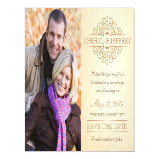 Save the Date Elegant Scroll Vintage Wedding Photo Magnetic Card