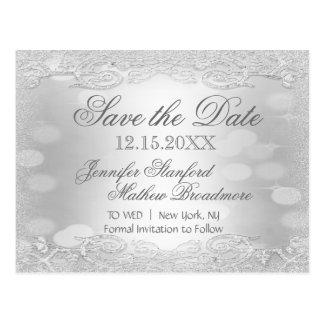 Save the Date   Elegant Silver Postcard