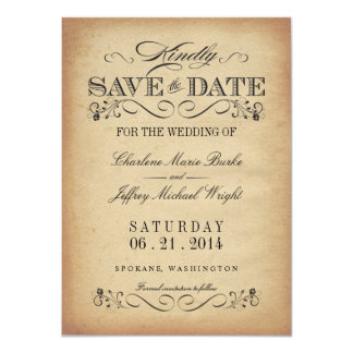 Save the Date - Elegant Vintage Parchment Personalized Invitations