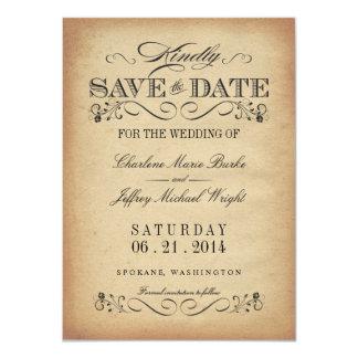 Save the Date - Elegant Vintage Parchment 4.5x6.25 Paper Invitation Card