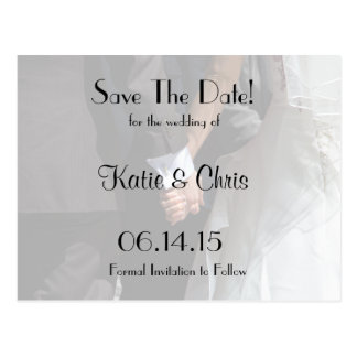 Save The Date Elegant Wedding Couple Holding Hands Postcard