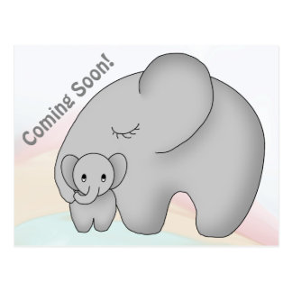 Save The Date Elephant Baby Shower Postcard