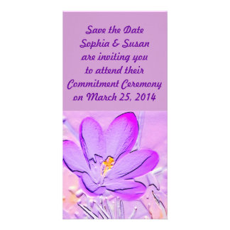 Save the Date Embossed Purple Crocus Cards