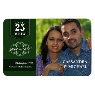 Save the Date - Emerald Custom Photo Rectangular Photo Magnet