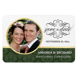 Save the Date - Emerald Damask Photo Magnets