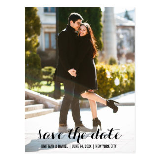 Save The Date Engagement Modern Postcard L