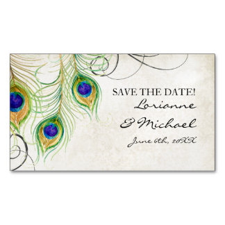 Save the Date Engagement Peacock Feathers Gold Business Card Magnet