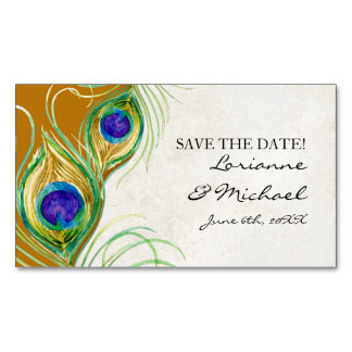 Save the Date Engagement Peacock Feathers Mustard Magnetic Business Card