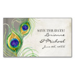 Save the Date Engagement Peacock Feathers Silver Magnetic Business Cards