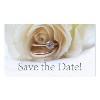 Save the Date Engagement ring and rose Business Card