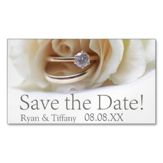 Save the Date Engagement ring and rose Business Card Magnet
