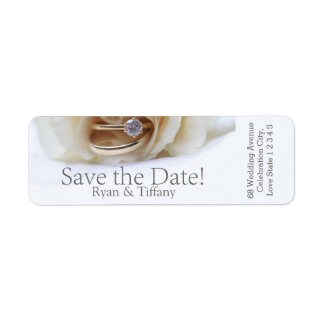 Save the Date Engagement ring and rose Label
